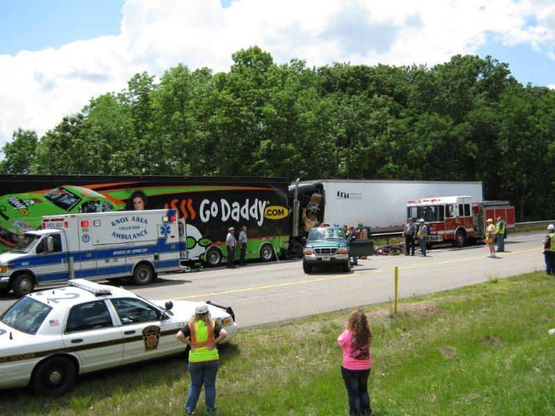 A tractor-trailer transporting Danica Patrick NASCAR merchandise was involved in an accident on Interstate 80 near Knox yesterday afternoon.