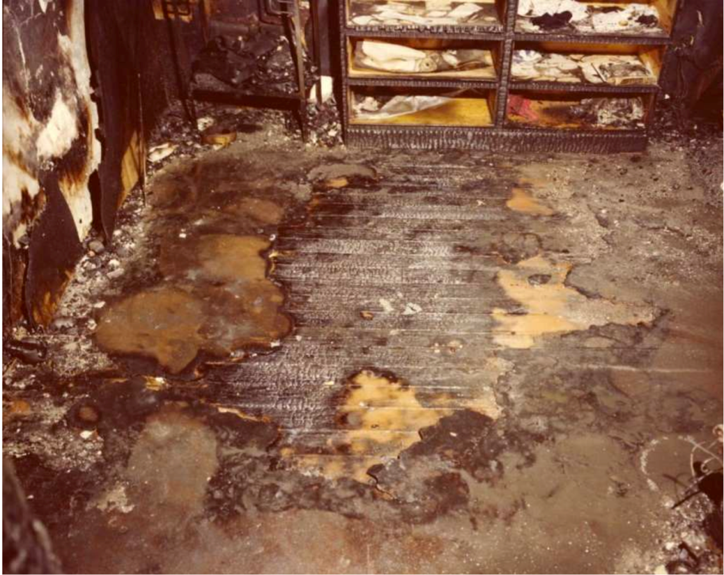 "The bedroom where James Hugney, Jr. was sleeping and what fire investigators at the time believed were ""characteristic pour patterns"" that proved that there was an arson"