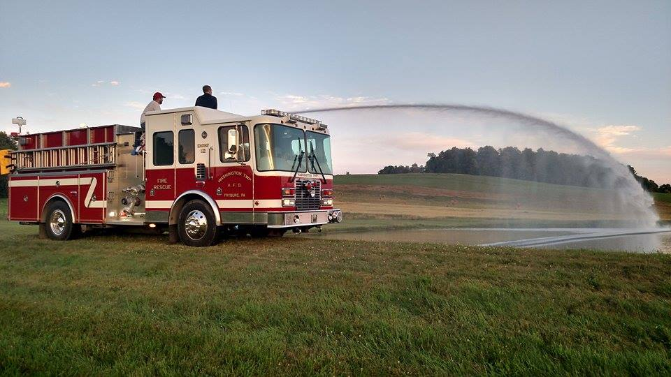 Washington Twp. Volunteer Firefighters doing some pump training on a beautiful evening. Photo submitted by Chief Brady Kapp.