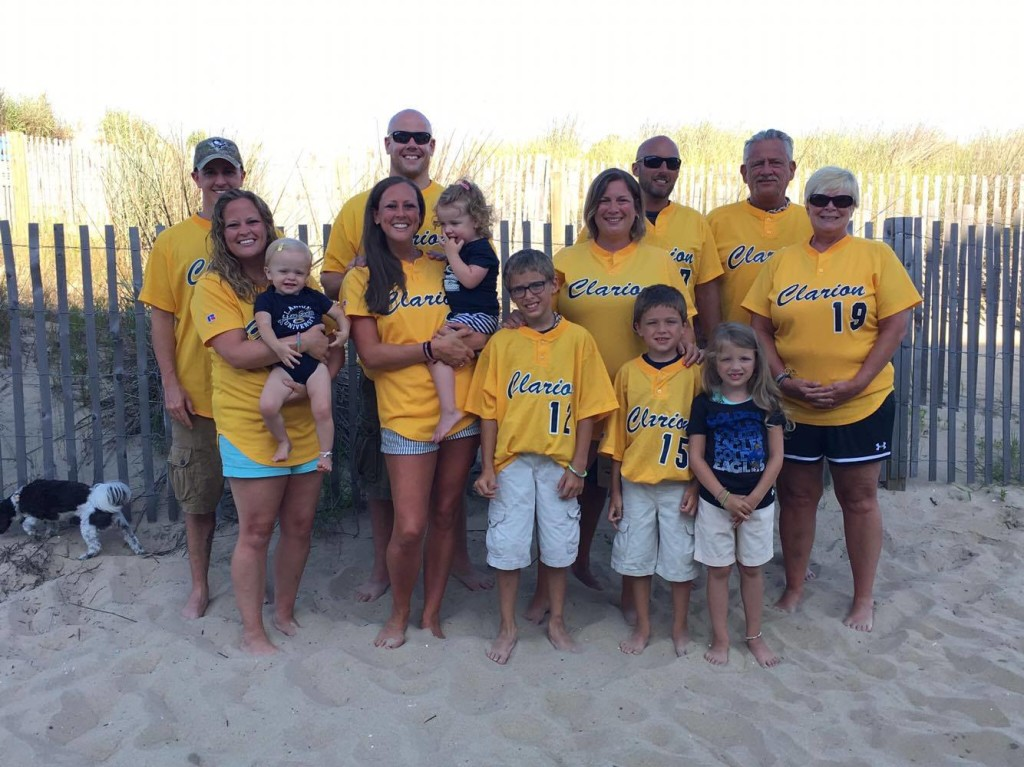 Clarion University baseball coach, Mike Brown and his family representing CUP while in Ocean City, Md. Photo submitted by Erin Hunsberger.