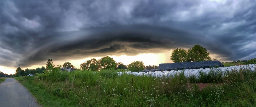 """""""Shelf cloud (on August 12, 2016) before the storm hit in Shippenville"""" Submitted by Michelle Turk."""