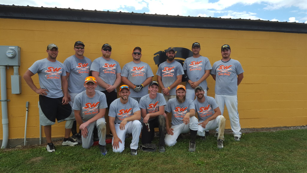 """""""The S & W Auto Body softball team participated in the Knox Horsethief tournament this past weekend.  Although they didn't win, they had fun!""""  Submitted by Amy Wolbert."""