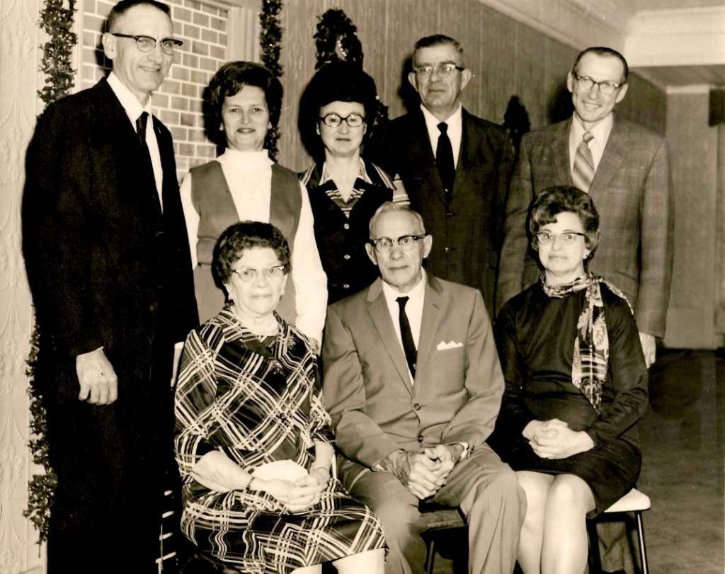 Family members gather at the former Sligo Korner Restuarant to celebrate the wedding anniversary of Mr. and Mrs. Grant Hoover, circa 1950s. Top, left to right: George Summerville, Mabel Summerville, Lloyd and Esther Hoover (former Sligo Korner Restaurant owners), and Frank Etzel. Bottom, left to right: Mr. and Mrs. Grant Hoover and Evelyn Etzel. Photo submitted by Roy Summmerville.