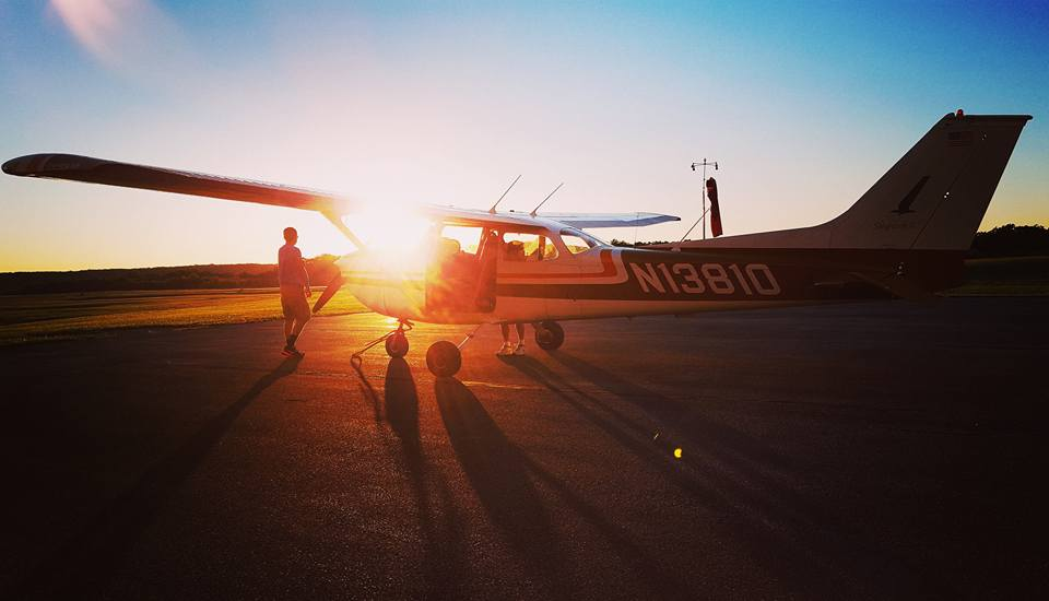 Photo of Austin Weaver, following a piloting lesson with Bill Guth at the Clarion County Airport. Photo captured by Gretta Thompson Weaver.
