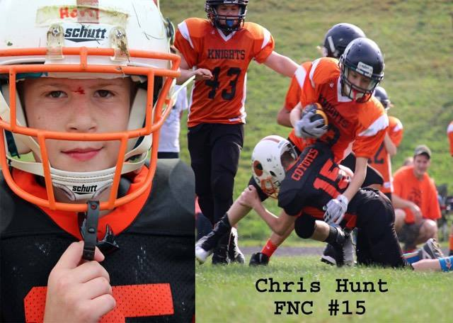 Youth football player Chris Hunt. Photo submitted by Michelle Anthony.