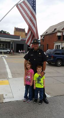 """""""Dannika and Wyatt with Sheriff Munsee at the Peanut Butter Festival parade."""" Submitted by Joey Shernock."""