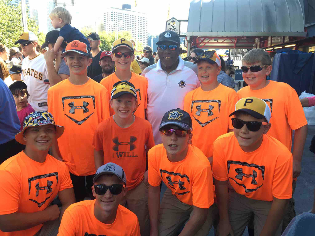 """The """"Knox Diamond Dawgs"""" were at the Pirate game (yesterday). The Pirates may have lost... But the team got to meet Manny Sanguillén!  Submitted by Scott Daum."""
