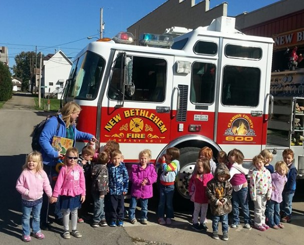 Pre K Counts visited New Bethlehem Fire Company for Fire Prevention Week to learn about Fire Safety. Photo courtesy of New Bethlehem Fire Company #1.