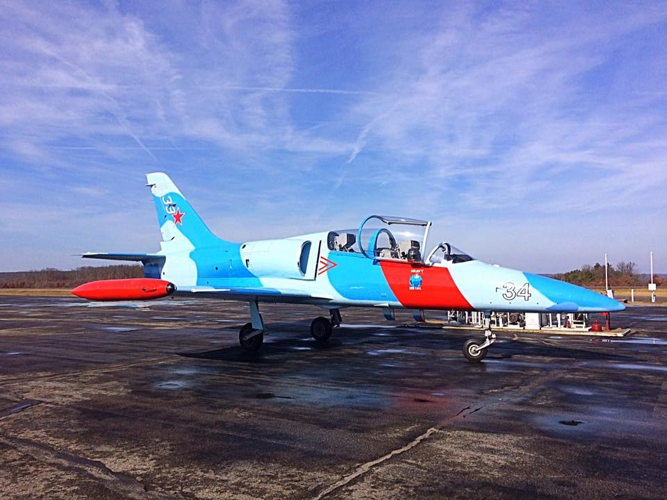 Czechoslovakian L39 trainer jet, February 24, 2017.  Photo courtesy Clarion County Airport KAXQ.