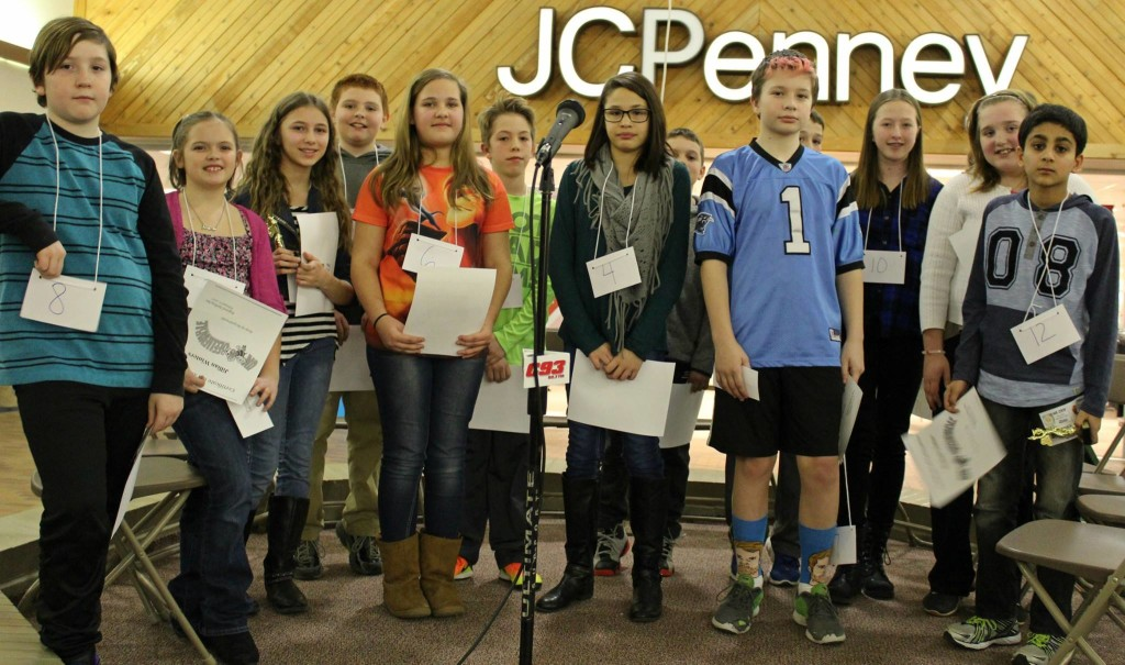 """""""These are all of the contestants from the Spelling Bee held at Clarion Mall (Monday night). Winning kids from schools around the area joined in the competition. All did a fabulous job!""""  Submitted by Laurie Kifer."""