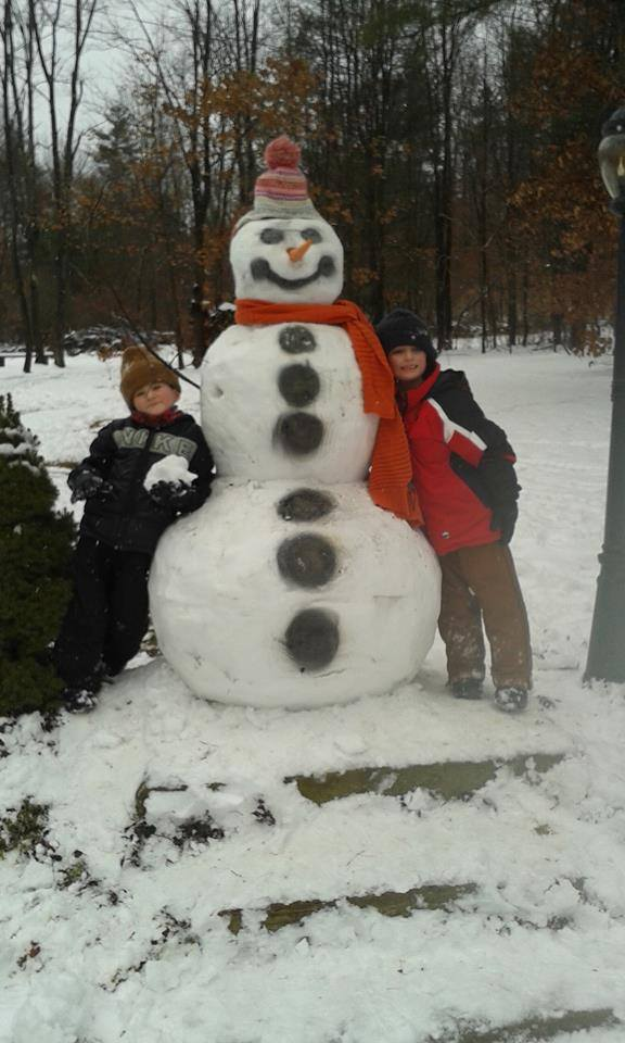 Drake and Griffin's big snowman.  Submitted by Melissa Edmonds.