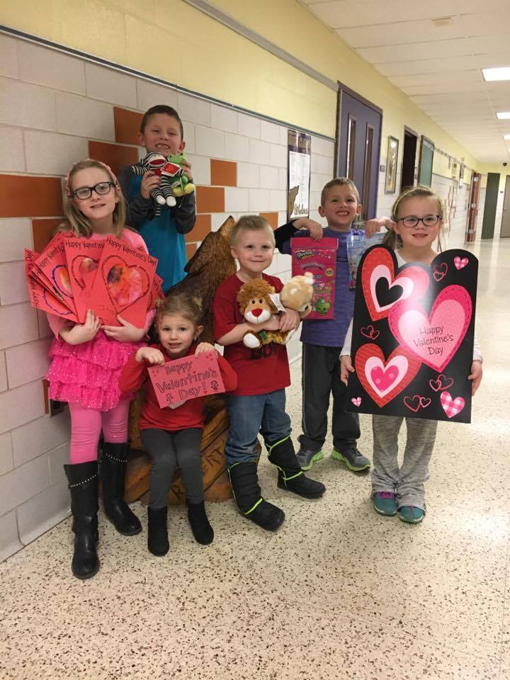 North Clarion elementary students from Pre-K to 6th grade made Valentine cards to donate to Children's Hospital in Pittsburgh. Pictured from left to right: Hope Bradybaugh; Owen Walter; Anna Walter; Dominik Sheffer; Ethan Walter; and Sophia Bradybaugh. Photo submitted by Holly Bradybaugh.