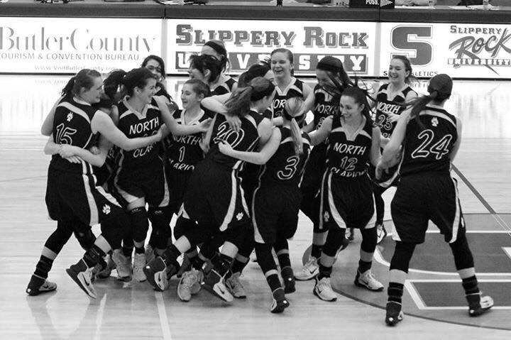 North clarion girls celebrate victory -  moving on to the Elite Eight!  Photo by Heidi Flick