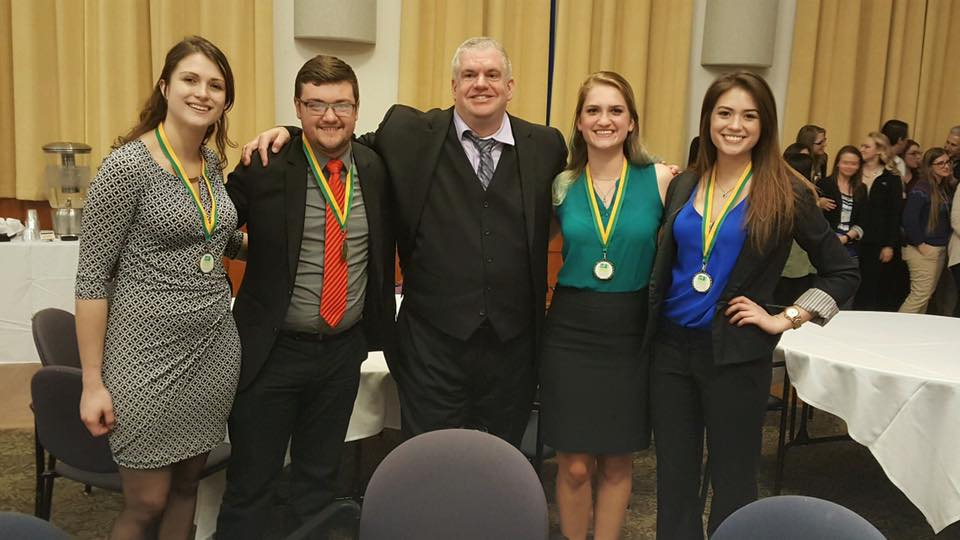 Last weekend a group of students represented Clarion University at the 48th Annual Meeting of the Commonwealth of Pa. University Biologists. Pictured below are the first place winners of the Undergraduate Poster Presentation for the Cellular and Molecular Category. From left to right, they are Danielle Maier, Christian Schill, Dr. Craig Scott, Kinsey Laninga, and Michelle Geytenbeek.