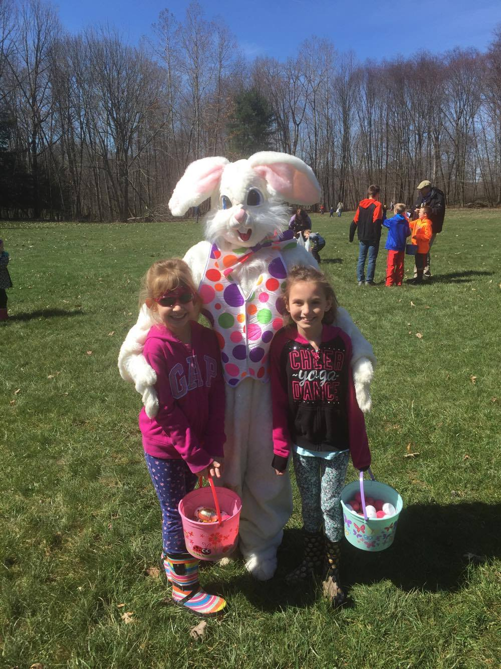 Kaelynn and Emma Fitzsimmons with the Easter Bunny at the Marianne Estates Egg Hunt. Submitted by Tamera Fitzsimmons.