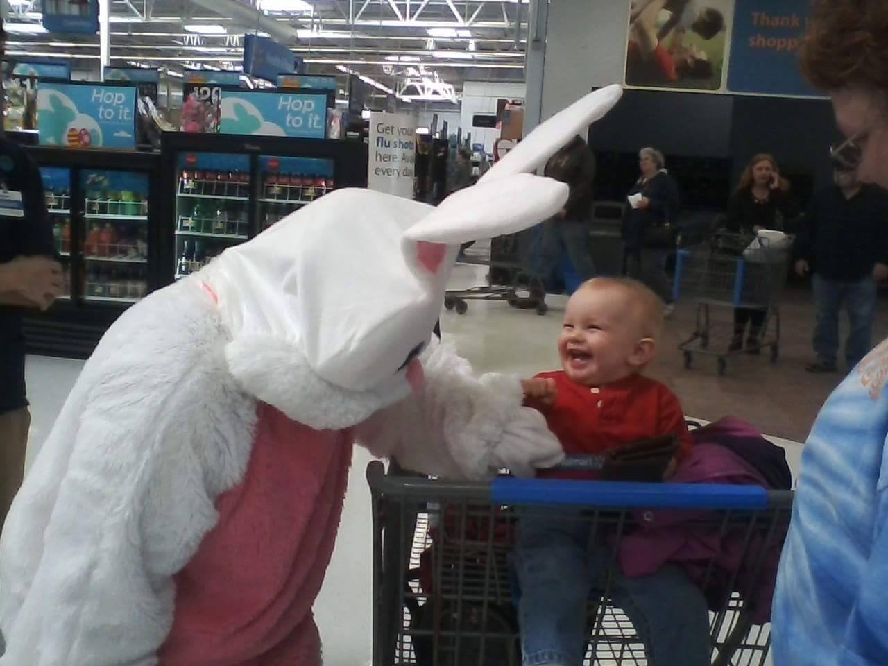 First encounter with the Easter Bunny - Blaine Fauzey, of Rimersburg.  Submitted by Katie Henry-Fauzey.