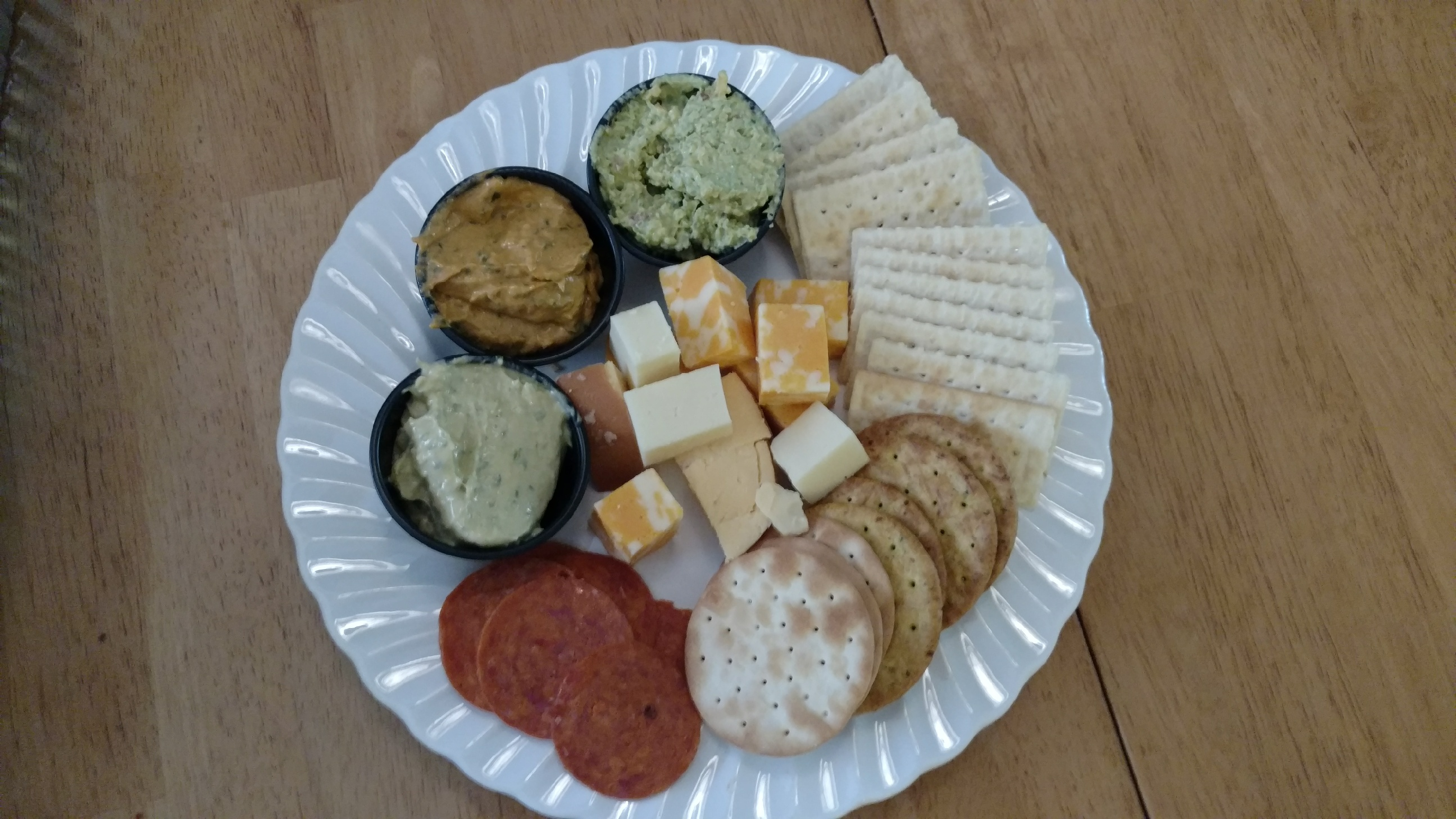 Three different leek dips with cheese and crackers for $8.00.