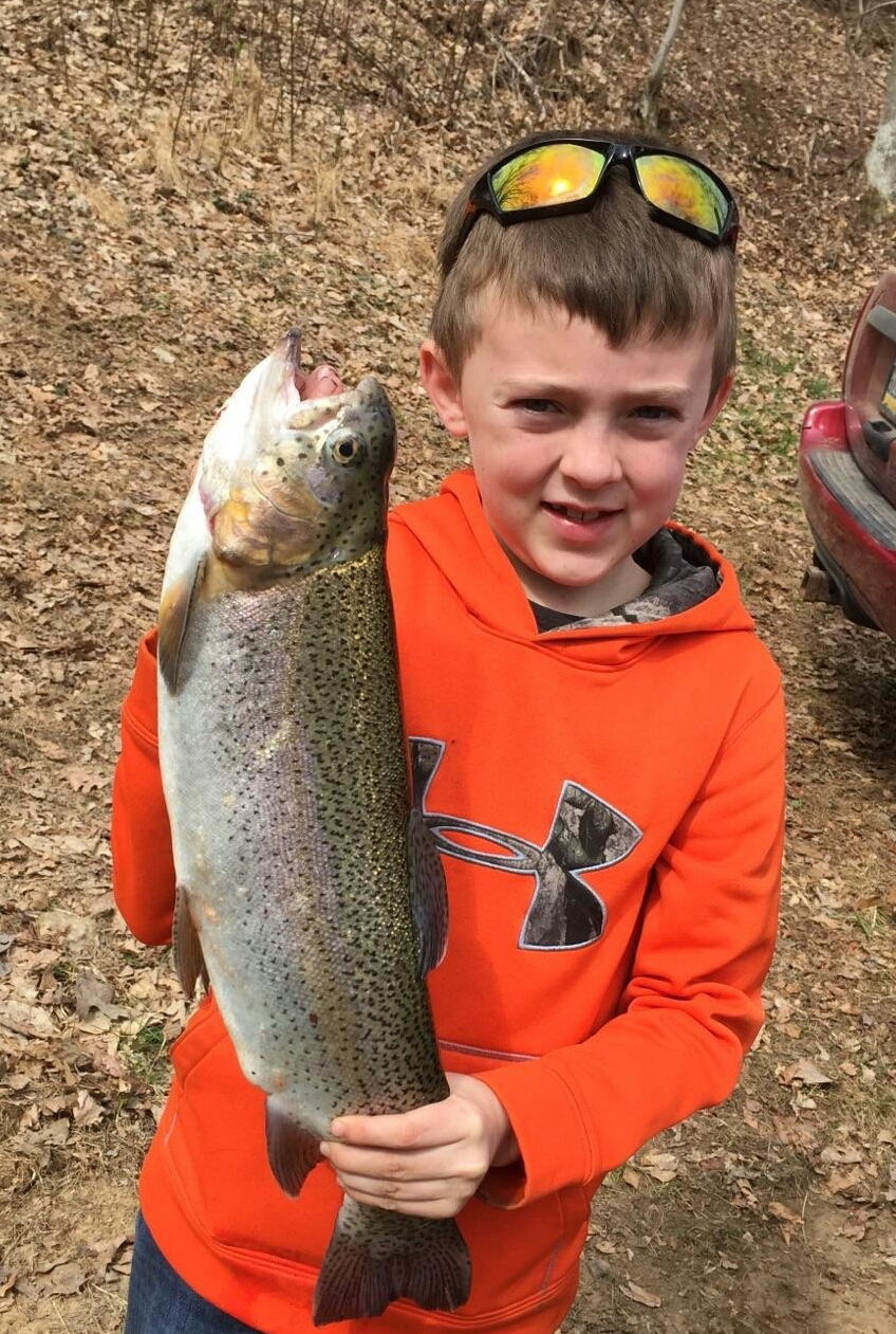Reagan Parker's 21 inch rainbow trout caught April 15, 2017 - first cast of the day!  Submitted by Tricia Parker.