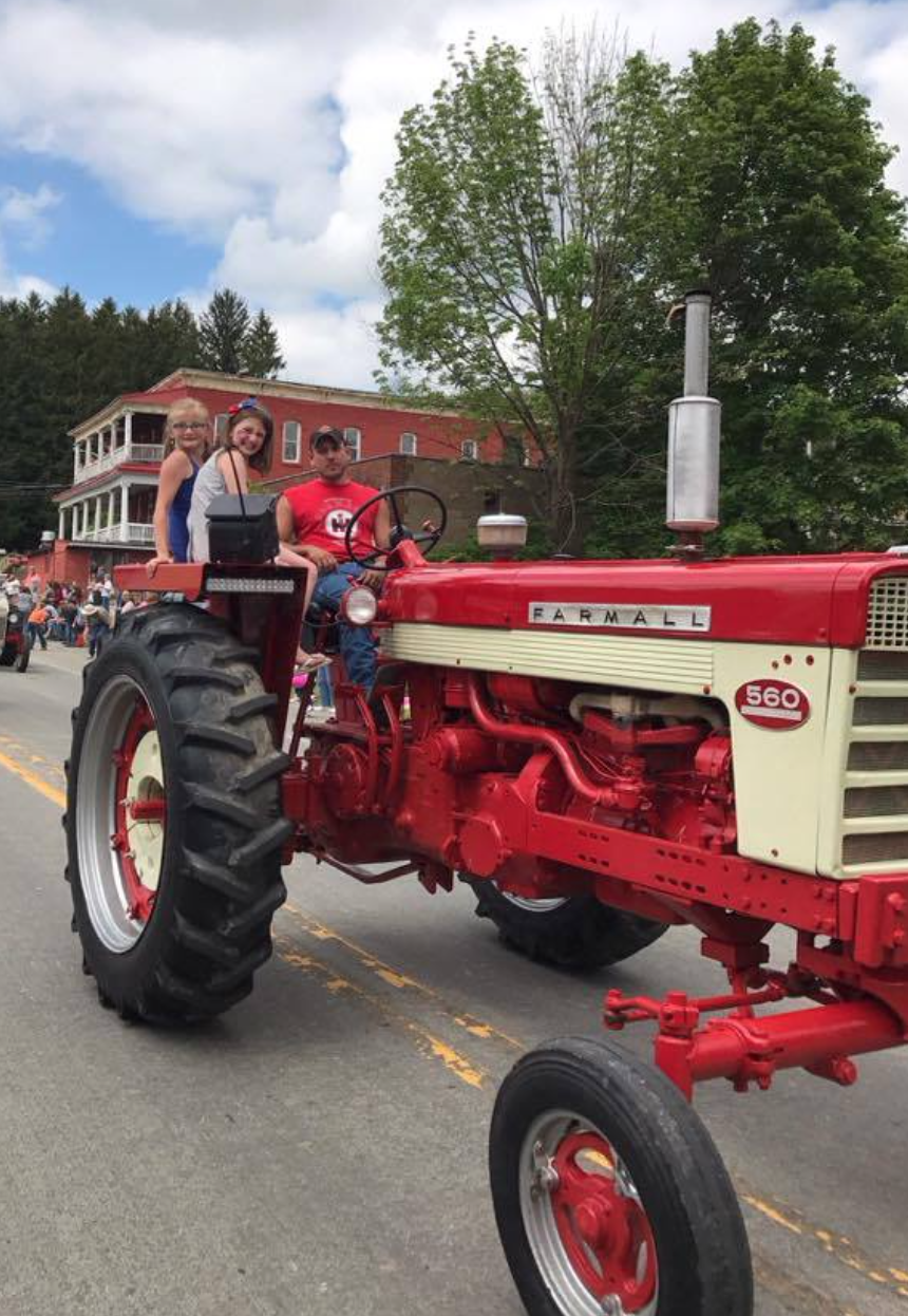Abby Best and Reese Cornecki riding with Nick 'Dynamite' Ochs in the Fryburg Mayfest parade on Saturday, May 27, 2017. Photo submitted by Rick Best.