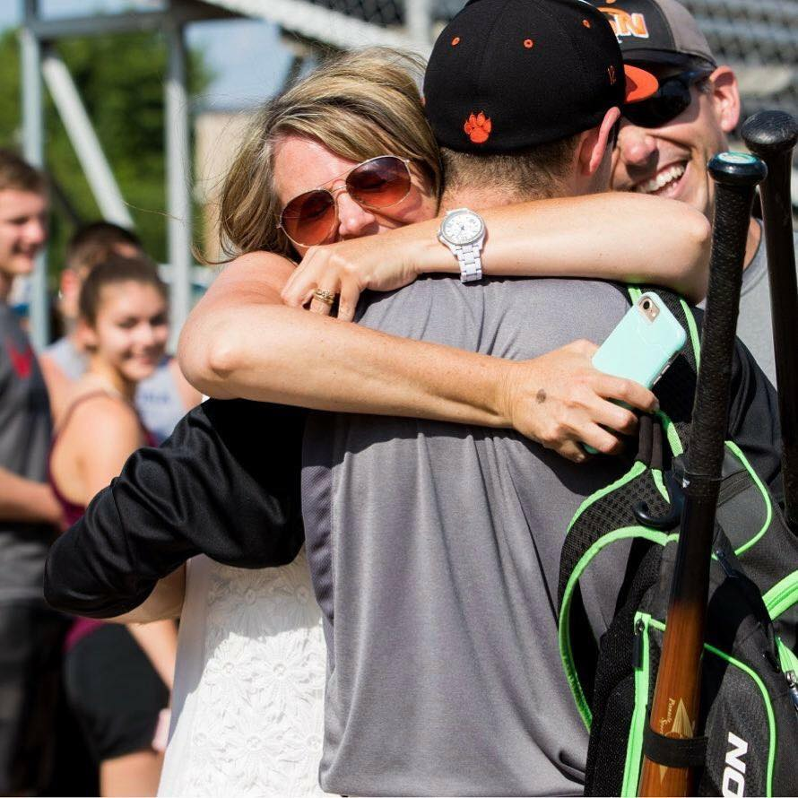Laura Soney Miller congratulating her son, Spencer, on Clarion High School baseball team's win! Photo submitted by Kathy LaVan.