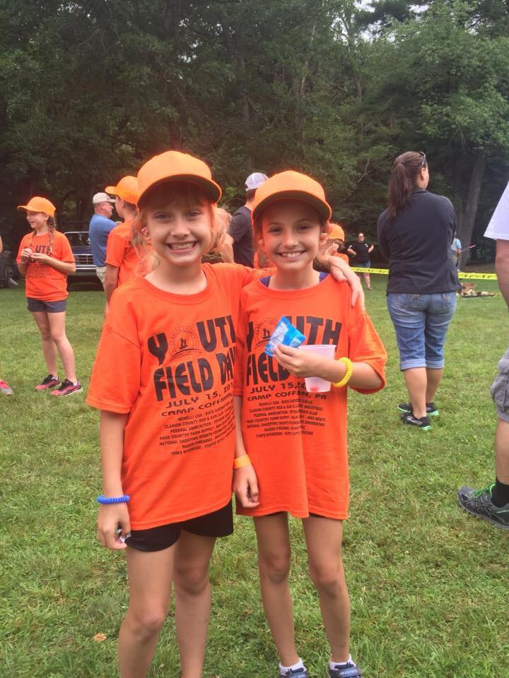 Kaelynn and Emma Fitzsimmons, 8, of Shippenville enjoyed their first Youth Field Day at Camp Coffman. Photo submitted by Tamera Fitzsimmons.