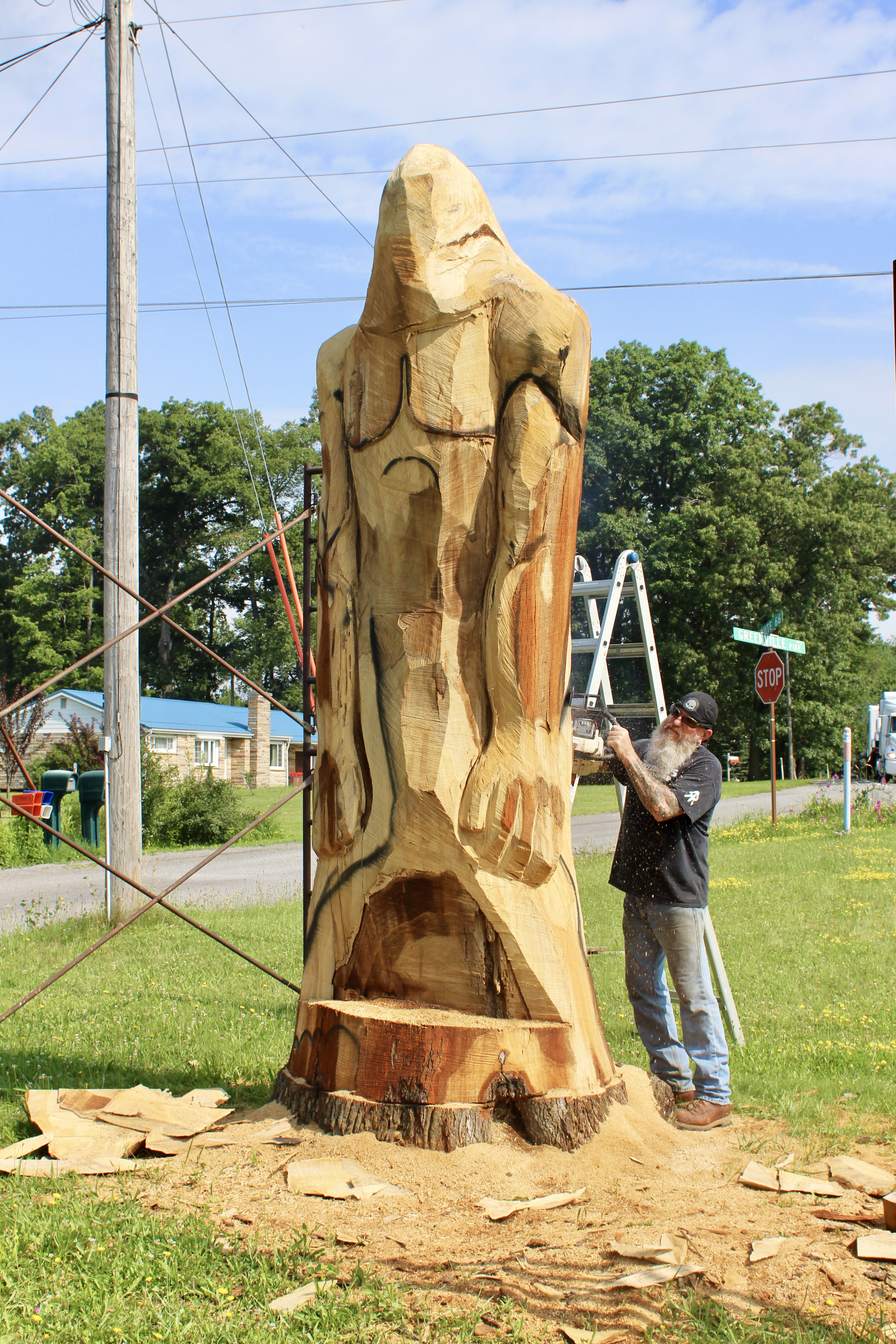 Area woodcarver interviewed by cnn after 'chainsaw trump
