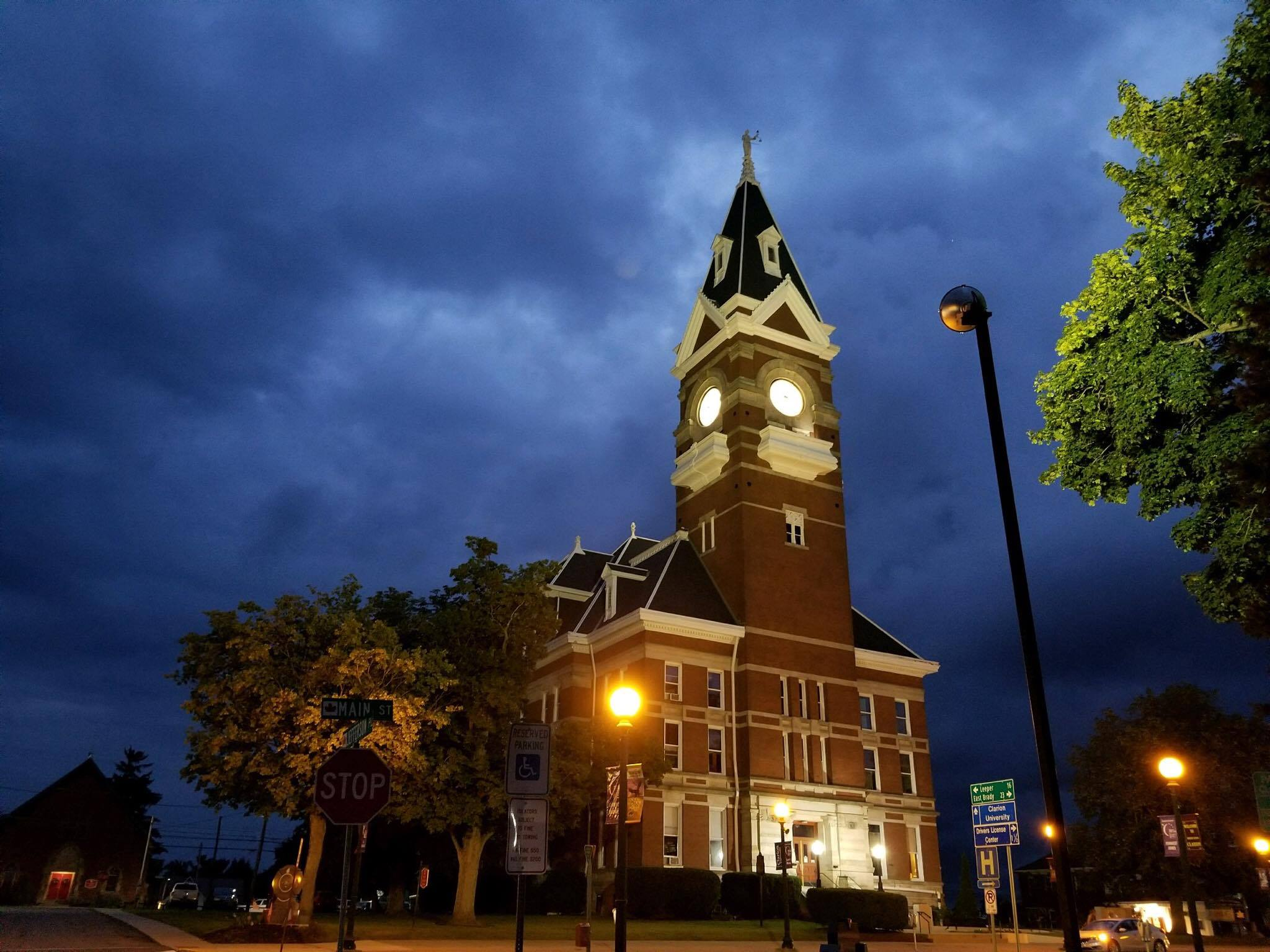 Dark sky over Clarion's courthouse Monday evening. Photo submitted by Ben Rumbarger.