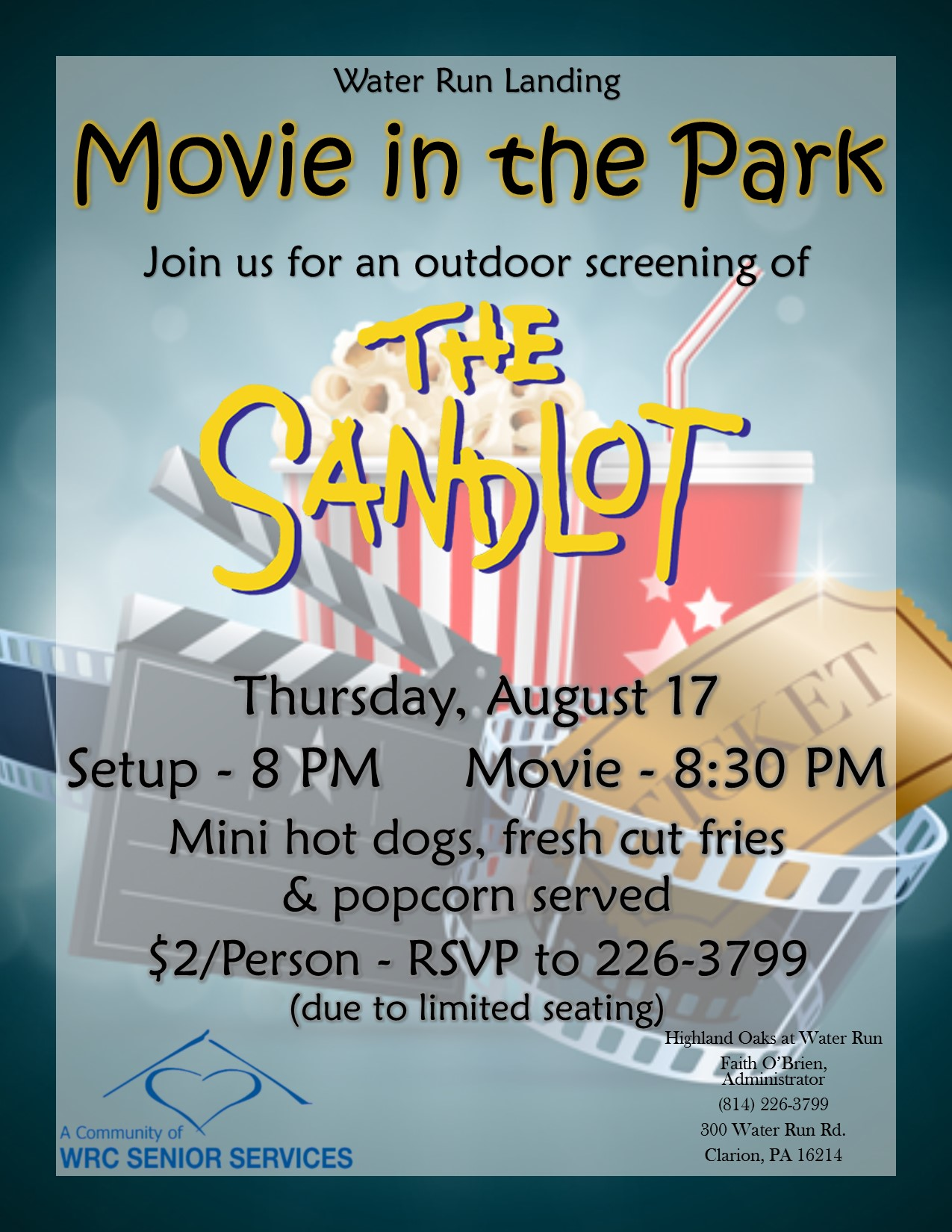 Water Run Landing to Host Movie in the Park on August 17 ...