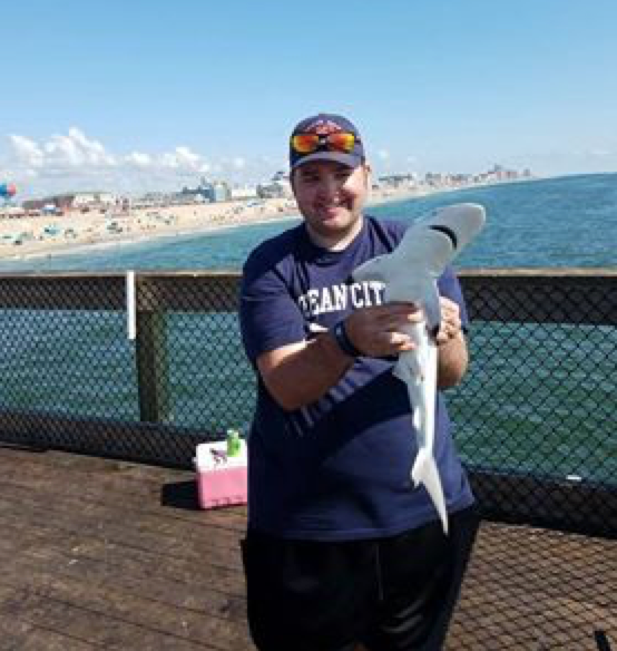 Jordan Myers of Rimersburg, Pa. caught this Sand Shark on the pier in Ocean City, Maryland. Submitted by Lori Myers.