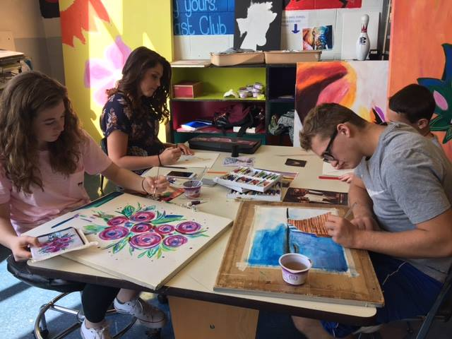 Students at Union in 9th grade art class are being creative while working on their watercolor paintings. Students pictured from left to right are Morgan Cumberland, Falan Wissinger, Gaven Marsh, and Logan Clinger. Photo courtesy Union School District.