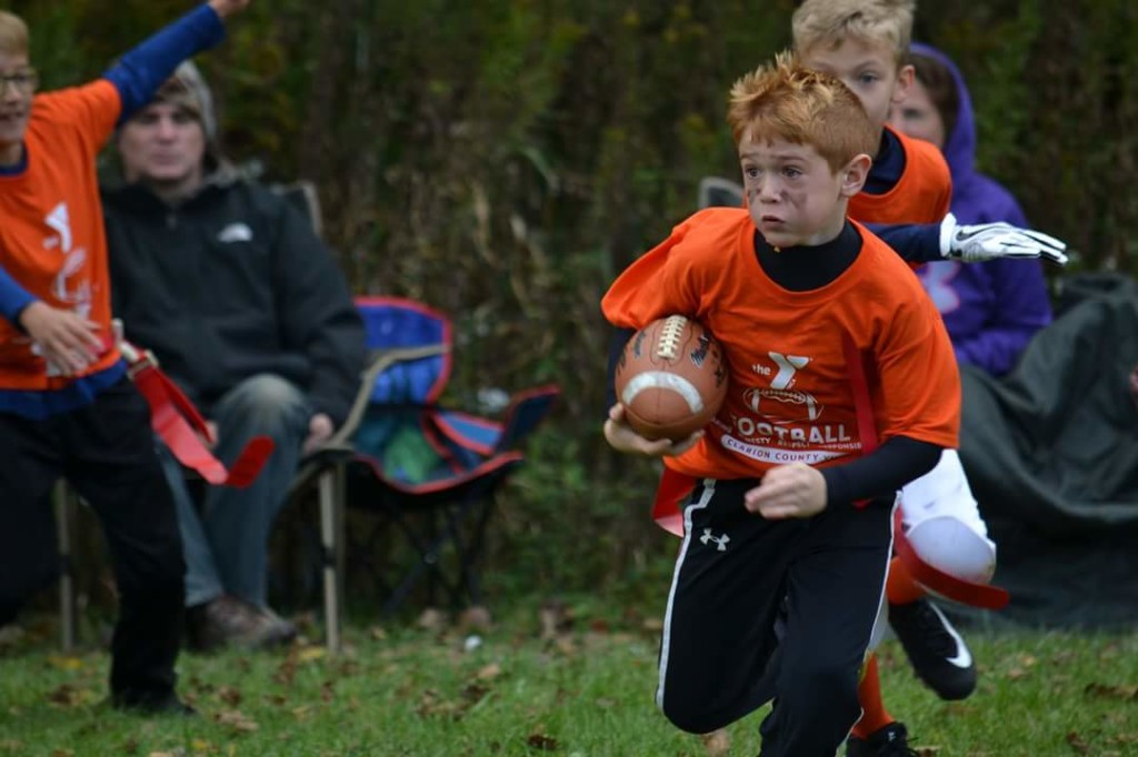 Ethan Rex, Clarion County YMCA Flag Football.  Submitted by Michelle Murray.