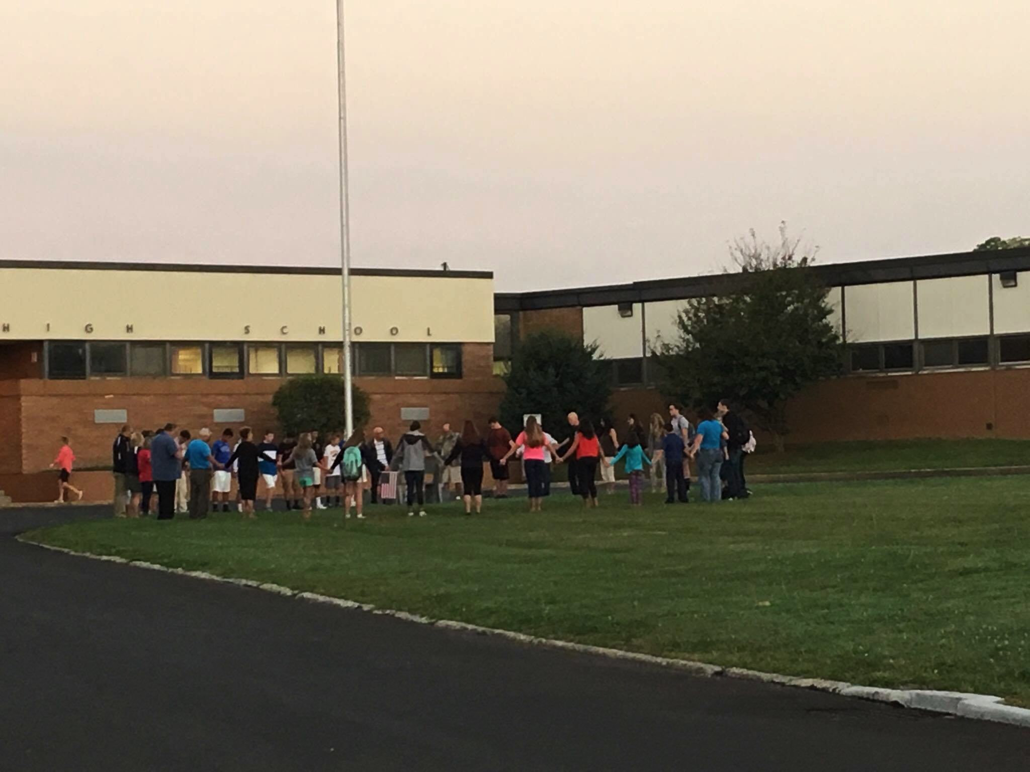 National 'See You at the Pole' Day at Keystone High School on September 28. 44 students and adults took part in it. Photo submitted by Shane Tharan.