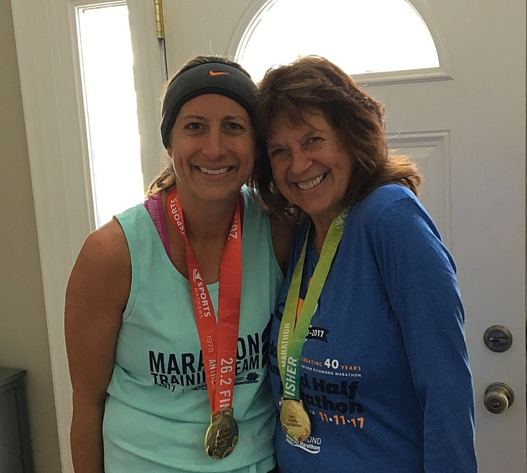 Ruthie Niederriter, of Shippenville, (on right) and her daughter Julie Best ran the Richmond Marathon and Half Marathon on Saturday, November 11  Ruthie came in third in her age group of 49 women in the half marathon.  Julie qualified for the Boston Marathon for the second time!
