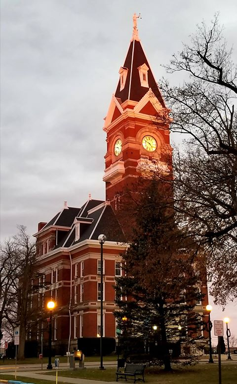 Setting sun reflecting on the courthouse. Photo submitted by Chad Thomas.