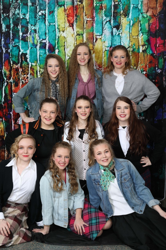 The Nonet of Ronnette, Crystal and Chiffon comprised of:  Front Row - Mira Dixon, Carla Schoeppner, and Jaclyn Frye.  Middle Row - McKenna Deible, Rori Vickers, and Mikayla Scheckler.  Back Row -  Talia Jones, Lexi Henry, Jessica Servey