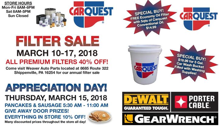 Weaver Auto Parts >> Sponsored Major Discounts At Weaver Auto Parts As Annual Filter