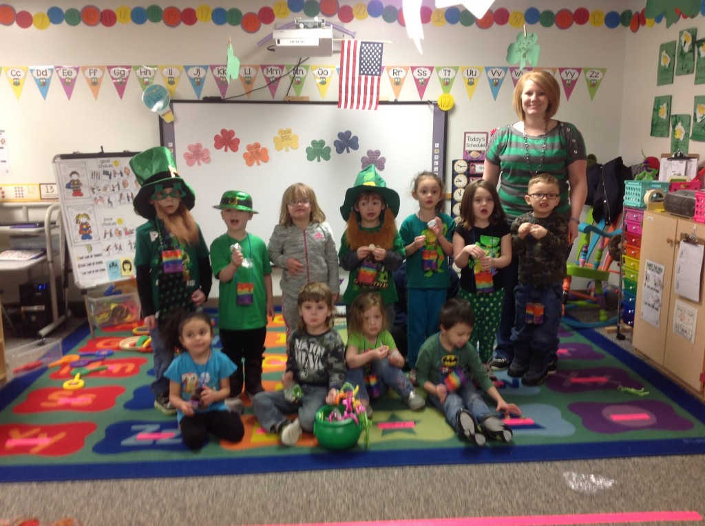 The children in the Clarion Head Start classroom found a pot of gold that was left in their classroom by a pesky Leprechaun.  Submitted by Crystal Tharan.