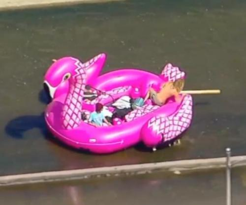 Police-stop-Los-Angeles-River-rafters-in-giant-pink-flamingo