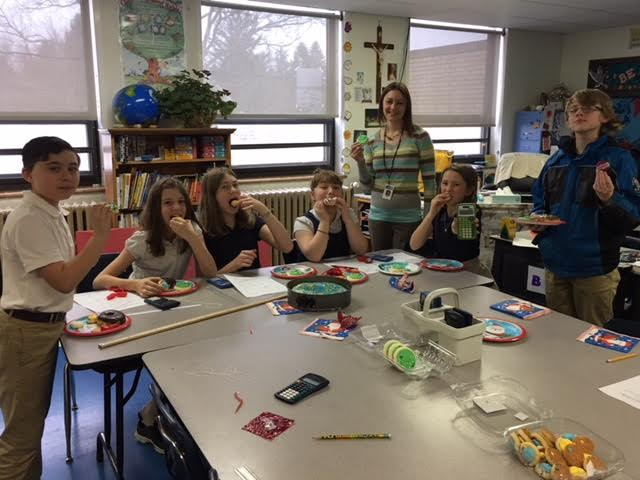 Immaculate Conception students having fun on National Pi Day. Pictured from left to right are Owen Wilson, Olivia Miller, Ansley Burke, Bella Troese, Mrs. Lauren McCoy, Eva Beck and Joe Zacherl. Submitted by Dawn Miller.