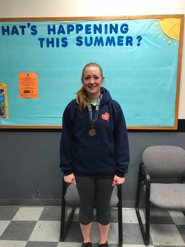 Sarah Lutz was the 1st place winner in the women's division of the YMCA Indoor Triathlon. Courtesy of Clarion County YMCA.