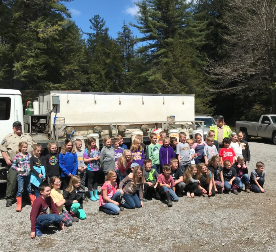 North Clarion 2nd grade class stocked trout with PA Fish Commission Officers Shellgren and Bloom. Submitted by Steve Lencer.