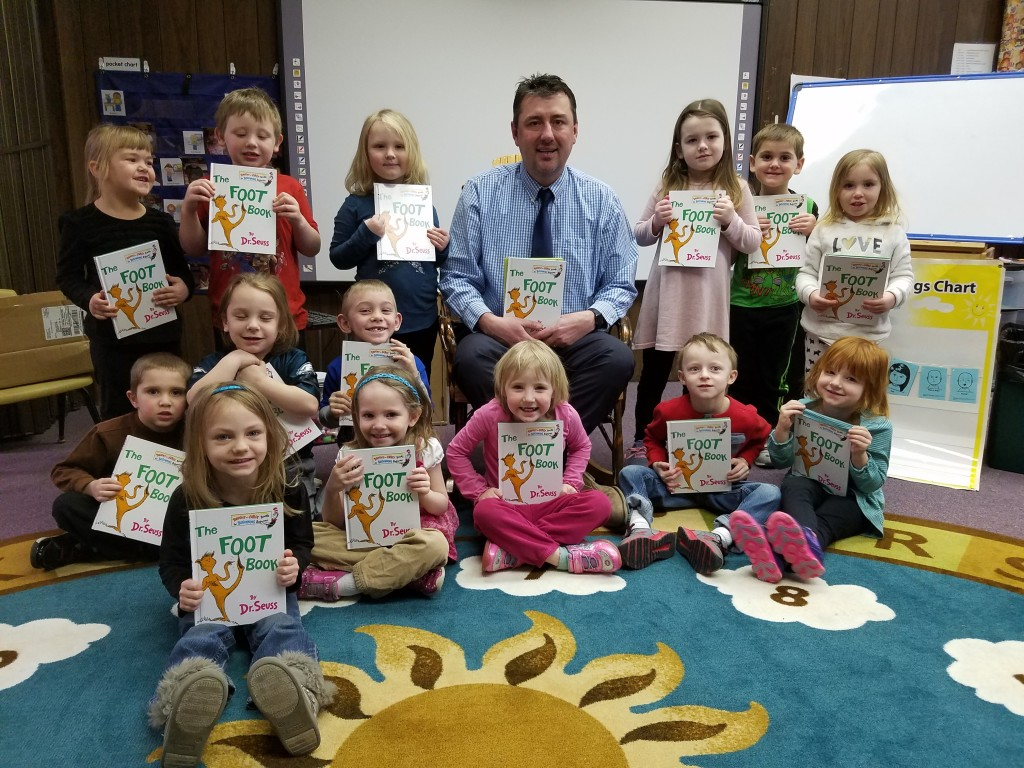 Mr. Minick, Union Elementary School Principal visited Rimersburg Head Start and read Dr. Seuss The Foot book, the children received their own copy of the book along with The Kissing Hand to take home. The children really enjoyed meeting Mr. Minick.