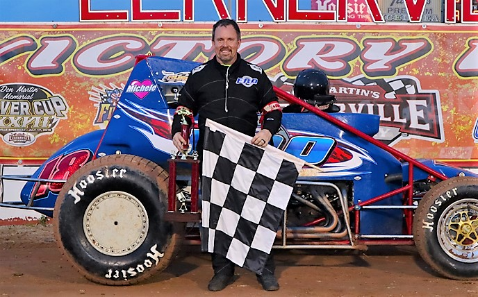 Arnie Kent in victory lane after winning the inaugural RUSH sprint car feature. Photo by  Zack Anthony.