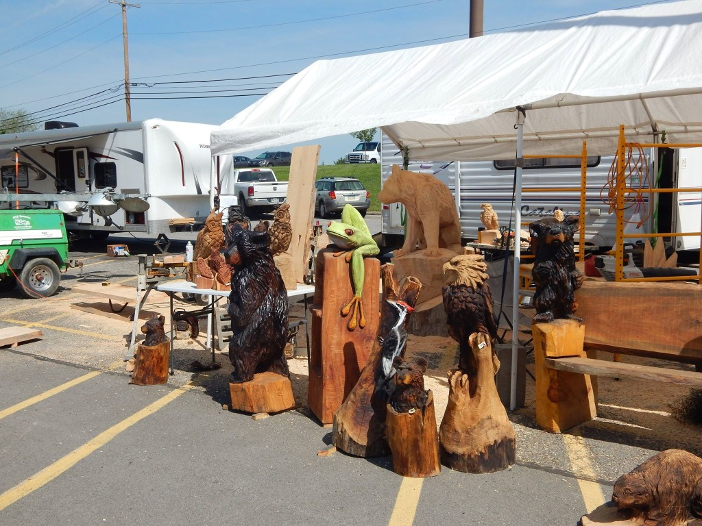 Carvings at the Clarion BBQ Festival. Courtesy of Shaw Aerial Video Photography.