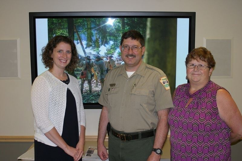 Cook Forest State Park Program Director, Dale Luthringer, was the speaker at a recent Clarion Rotary Meeting. Pictured with Rotary Club members Kathy Glosser and Amanda Heppinger. Courtesy of Clarion Rotary.