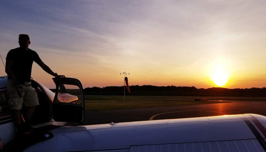 Austin at the Clarion County Airport on Father's Day evening. We celebrated him getting his Private Pilot License with a flight up to Primo Barones at the Franklin Airport. Submitted by Gretta Thompson Weaver.