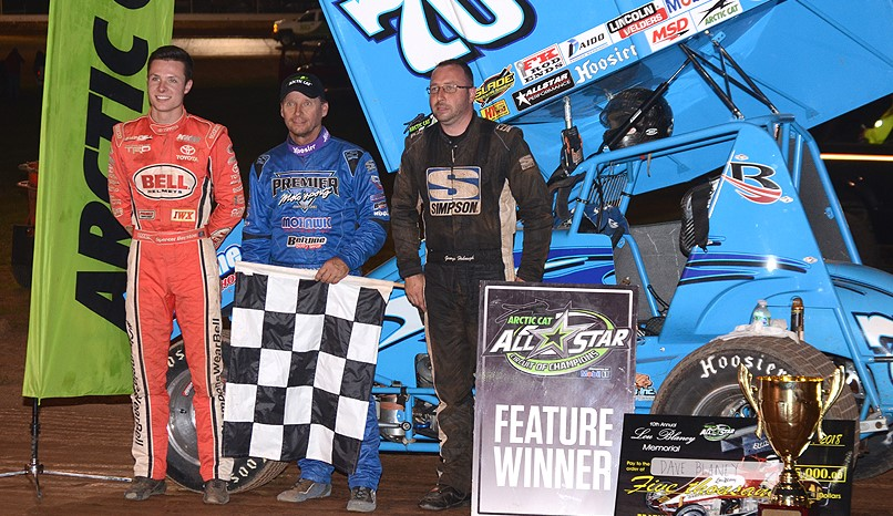 Winner Dave Blaney is joined by 2nd place George Hobaugh and 3rd place Spencer Bayston. Photo by Rick Rarer.