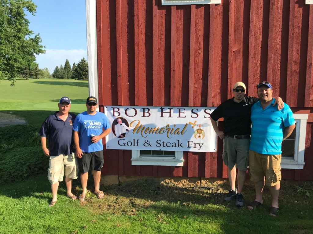 Winners of the Bob Hess Memorial Shriners Scramble  at Hi-Level, from left to right, Cliff Wingard, Charles Raybuck, Brady Kapp Jr., and Kirk Tharan. Submitted by Kevin Tharan.