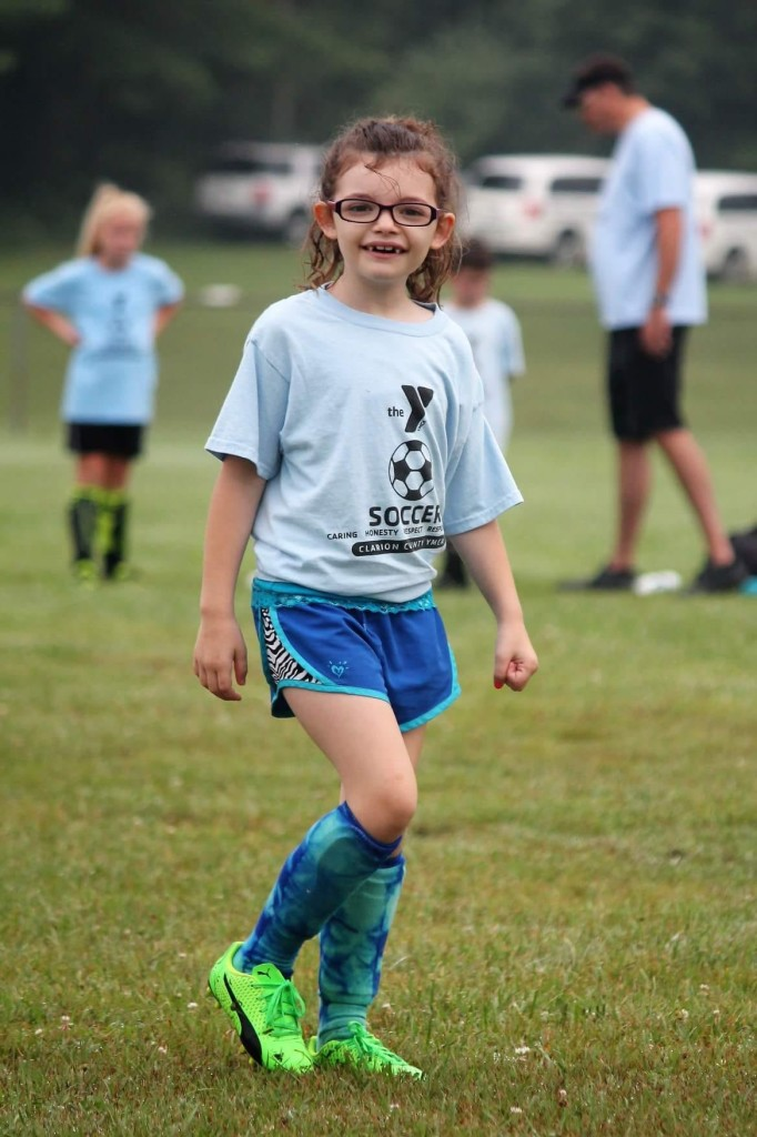 Allison Baumcratz enjoying saturday soccer games with the YMCA. Submitted by Miranda Baumcratz.