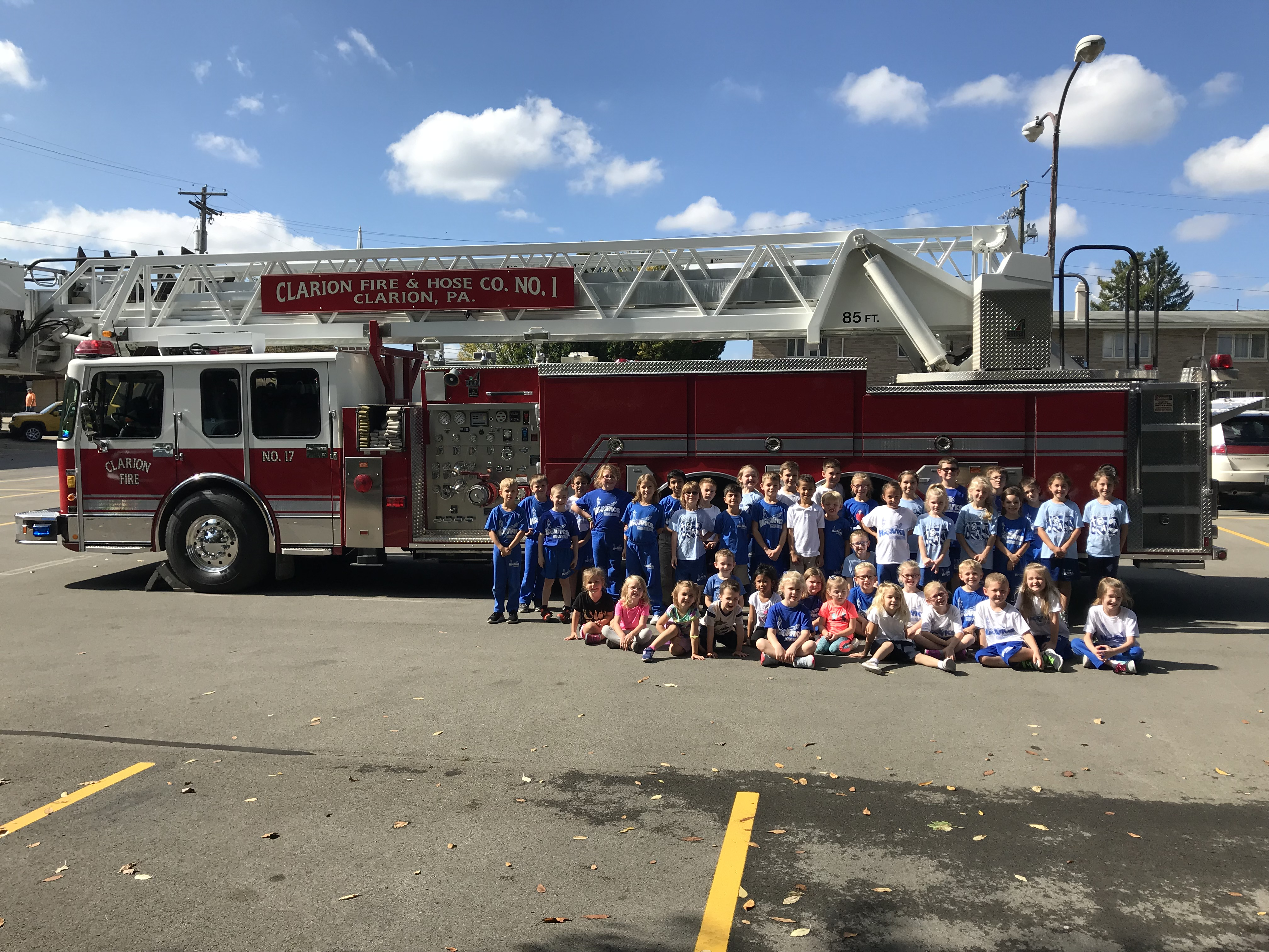 Immaculate Conception Parish School hosted Clarion Fire & Hose Company 1 this week to teach students about fire safety. The students learned the importance of not being afraid of firefighters and not to hide if they need to be rescued.  They also got to see how portable water tanks worked,  had a turnout gear relay, and more. Submitted by Dawn Miller.